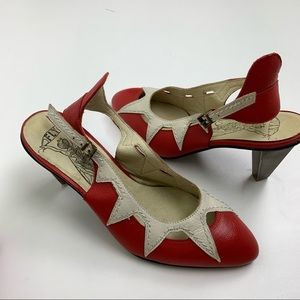 Fly London Scarlet & Off White Abi Leather Pump